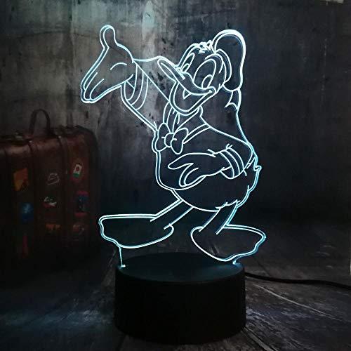 3D Donald Duck Nachtlampje, 7 kleuren, automatisch, veranderbaar, touchbediening en omschakelbaar, voor kantoor, decoratie, verlichting, verjaardagscadeau, met acryl-dienblad en ABS basis en USB-kabel