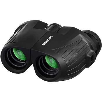 SGODDE - Mini binocolo HD, 12 x 25 mm, per adulti e bambini, compatto, pieghevole, con visione notturna a bassa luminosità, impermeabili, per attività all'aperto, caccia, bird watching, sparare