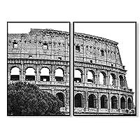 LLXHG 黒と白のイタリアコロッセオポスター古代の壁アートキャンバス絵画古典的な写真リビングルームの装飾-50x70cmx2フレームなし