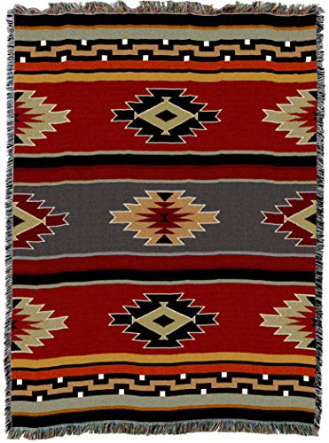 Pure Country Weavers Kaibab - XL Southwest Native American Inspired Tribal Camp Blanket Throw Woven from Cotton - Made in The USA (82x62)