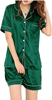 GAGA Women' Silk Satin Pajamas Set Two-Piece Button-Down Sleepwear Loungewear
