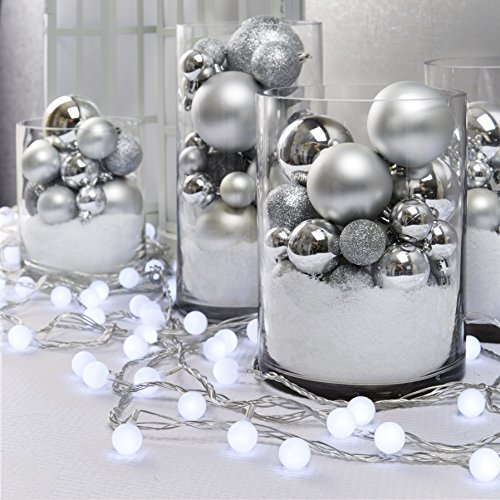 LED Globe String Lights Battery Powered, 32 Feet, Connectable, 100 Cool White Mini Ball Lights with 8 Lighting Modes and Timer