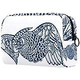 Bolsa personalizada para brochas de maquillaje portátil, bolsa de aseo para mujer, bolso cosmético, organizador de viaje, azul y blanco de porcelana