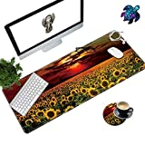 Desk Pad Mat Large Mouse Pad XL Extended Mousepad Gaming with Sunflower Field Sunset 31.5