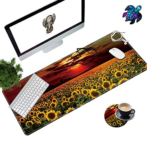 Desk Pad Mat Large Mouse Pad XL Extended Mousepad Gaming with Sunflower Field Sunset 31.5' 11.8' Huge Mouse Pads for Computer Laptop Home Office + Cup Coaster and Cute Stickers
