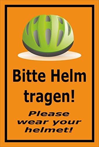 Melis Folienwerkstatt sticker schild - Gelieve helm dragen - S00050-091-E 60x40cm – Hartschaumplatte – mit Bohrlöchern