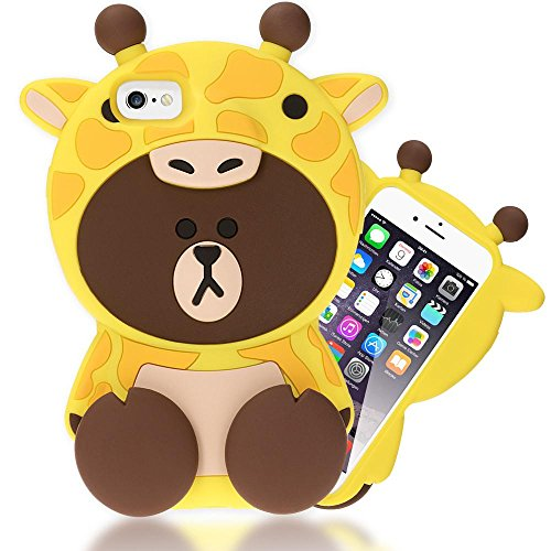 NALIA Funda Carcasa 3D Compatible con iPhone 6 6S, Dibujos Animados Protectora Movil Silicona Ultra-Fina Motivo Gel Bumper, Goma Cubierta Delgado Cover Smart-Phone Case, Designs:Giraffe