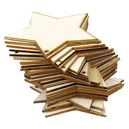 Sharplace 25er Set Handwerk Holz Sterne Scheiben DIY Basteln Holzsterne Deko Kunsthandwerk Party Hochzeit Geburtztag Feiertag Dekoration