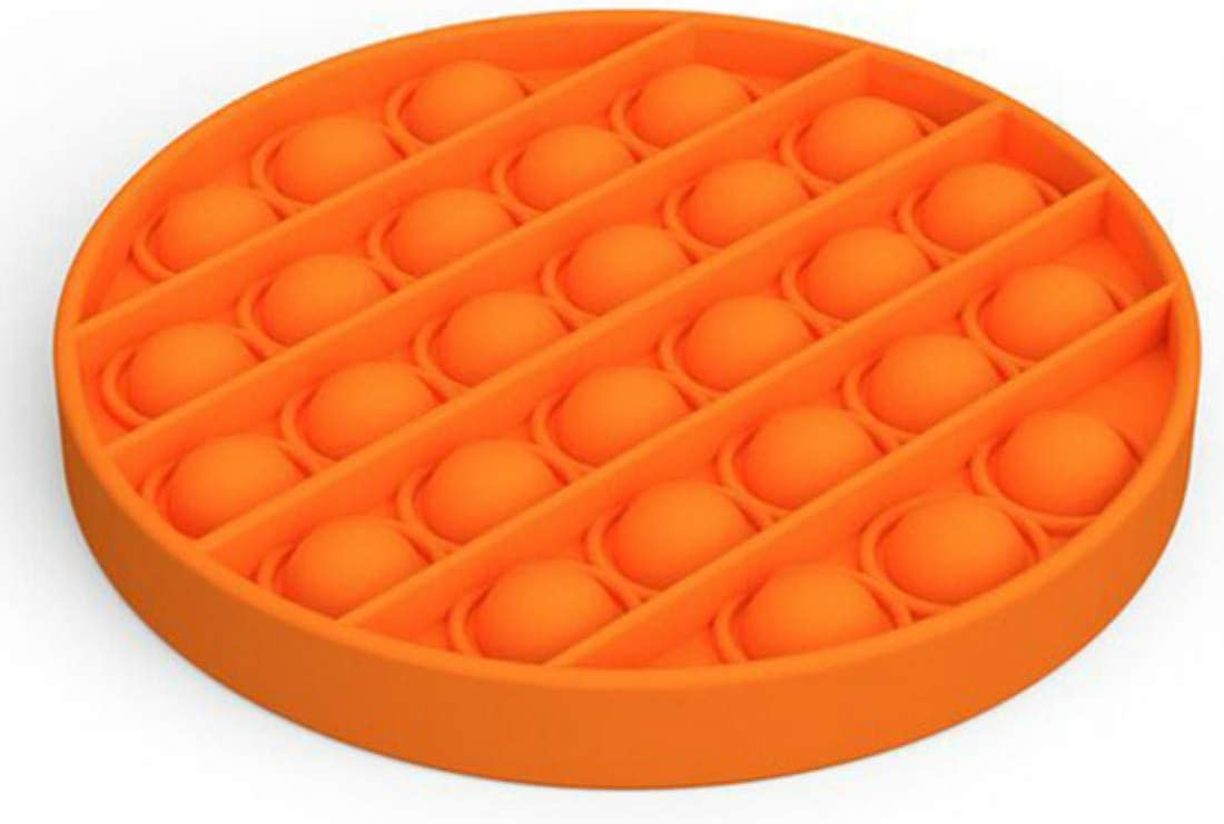 Orange Round Push Pop Bubbles Sensory Toy Games to Exercise Thinking Ability Silicone Stress Reliever Help Restore Emotions Squeeze Sensory Toy for Kid and Adult