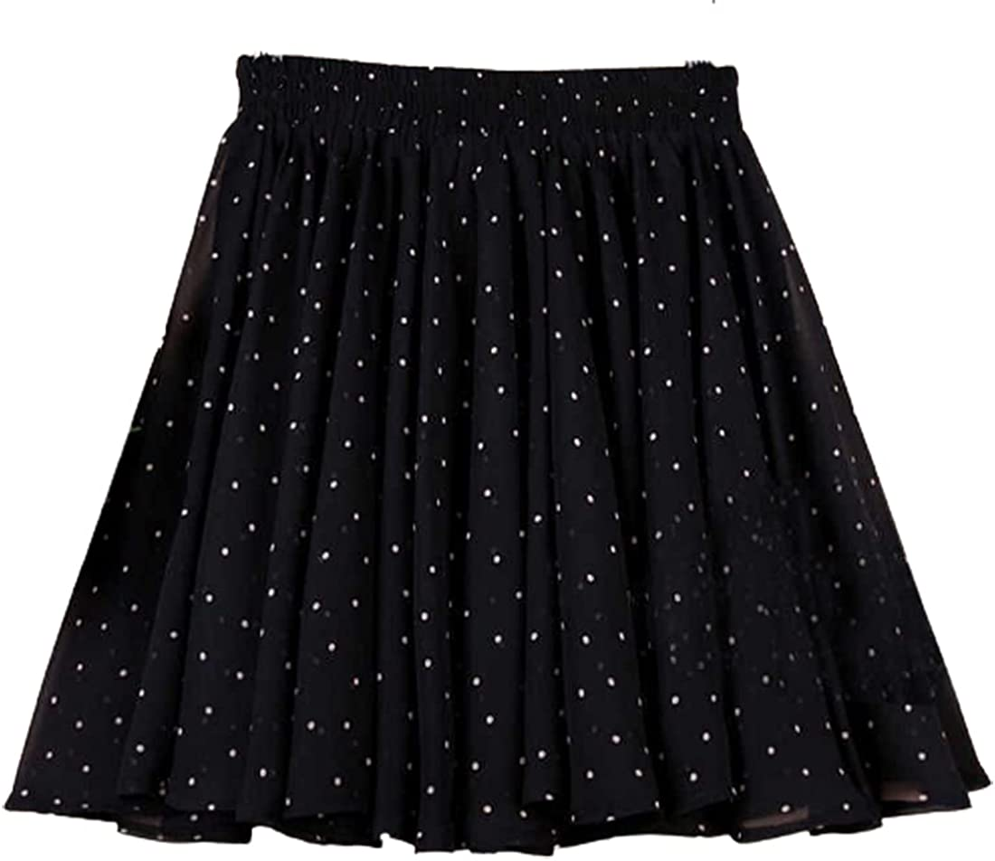 G-dress Globalwells Women 2 Layers Chiffon Mini Tutu Skirt Swing Boho High Waist Elastic Skirt