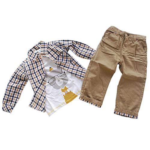 ggudd Niño Bebé Tartán Tops y Koala Impreso Camisa y Pantalones 3pcs Conjuntos de Ropa (Caqui, 2-3 años)