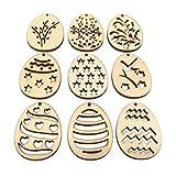 Amosfun100 pièces en forme d'œuf de Pâques en bois pour enfants -...