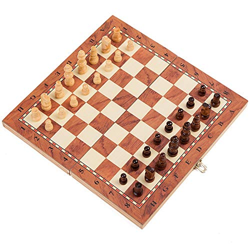 Chess Sets 3-in-1 Folding Travel Chess & Checkers & Backgammon with Folding Chess Board Educational Toys Best Gift for Kids and Adults Convenient to Carry Around (Color : Multi-Colored, Size : XL)