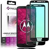 NALIA (2-Pack) Schutzglas kompatibel mit Motorola Moto G6 Plus, 9H Full-Cover Bildschirm Schutz Glas-Folie, Dünne Handy Schutzfolie Display-Abdeckung HD Schutz-Film Protector - Transparent (schwarz)