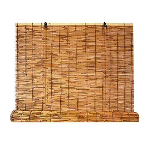 GLP Persianas de bambú para ventanas, persianas enrollables de bambú para exteriores, cortina, persianas, persianas de bambú, color marrón, protección UV, resistente al agua (tamaño: 80 x 110 cm)