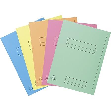 Exacompta 335000E Paquet de 50 Chemises à Rabat latéral format 24 x32 pour classement de document A4 Cadre d'ndexage Carte Peau 210g coloris Assortis (bleu clair, bulle, canari, rose et vert)