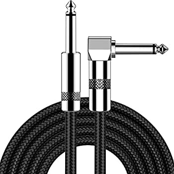 Guitar Cable 10ft New bee Electric Instrument Cable Bass AMP Cord for Electric Guitar Bass Guitar Electric Mandolin Pro Audio  Right Angle to Straight Black