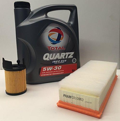 PACK olio di motor TOTAL QUARTZ INEO ECS 5W30 5 litri + Filtro aria/olio MOTORI 1.6HDi CITROEN/PEUGEOT