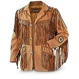 Chaqueta de cuero occidental de vaquero tradicional para hombre con flecos chaqueta de ante con cuentas - Negro - Small