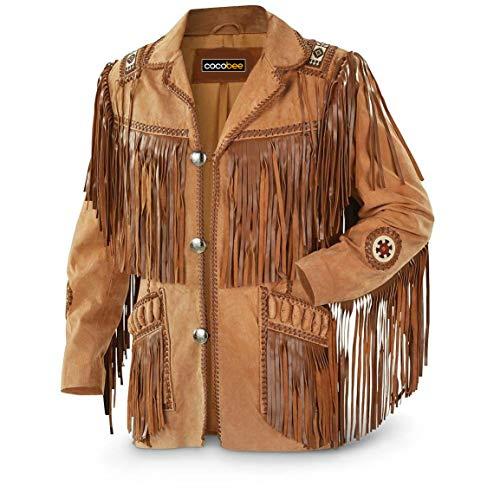 Chaqueta de cuero tradicional de vaquero occidental con flecos chaqueta americana de gamuza con cuentas - negro - XX-Large