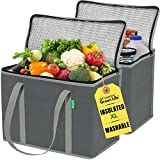 XL Insulated Shopping Bags for Groceries (2-Pack) - Premium Quality Cooler Bag – Washable, Reinforced Bottom and Handles, Sturdy Zipper – Insulated Grocery Bags for Hot or Cold, Food Delivery Bag