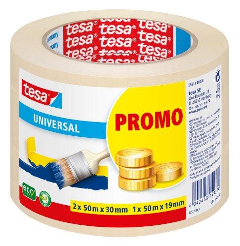 tesa Malerband für einfache Malerarbeiten, 3er Pack, 2 x 50m x 30mm + 1 x 50m x 19mm