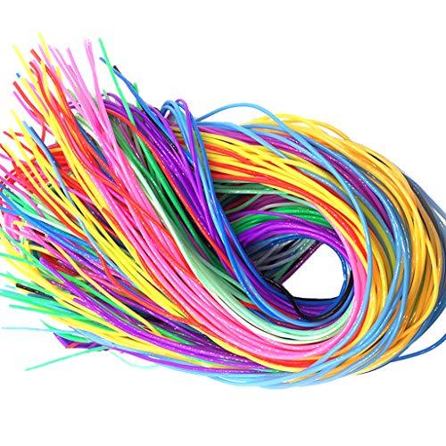 Feelairy 120 Stücke Scobydoo Bänder Neon, Plastic Braided Rope Scoubidou Bastel Seile in 12 Farben Plastik Band Streifen Knüpfbändern Schnur für Juwelen Schmuck Machen DIY Handwerk