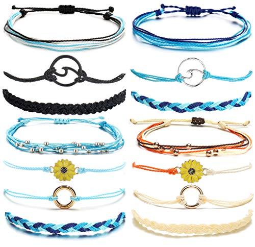14 Pieces Bracelets for Teen Girls Wave Strand Anklet Bracelets Set,Handmade Cute Sunflower Adjustable Braided Rope Bracelet Bohemian Beach Friendship Jewelry Christmas Gifts