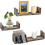 MyGift Wall Mounted Rustic Torched Wood U-Shaped Floating Shelves, Set of 3
