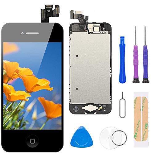 FLYLINKTECH Display per iPhone 5 Schermo Nero Touch Screen 4,0' LCD Vetro Digitizer Parti di Ricambio (con Home Pulsante, Fotocamera, Sensore Flex) Kit Smontaggio trasformazione Completo di Ricambio