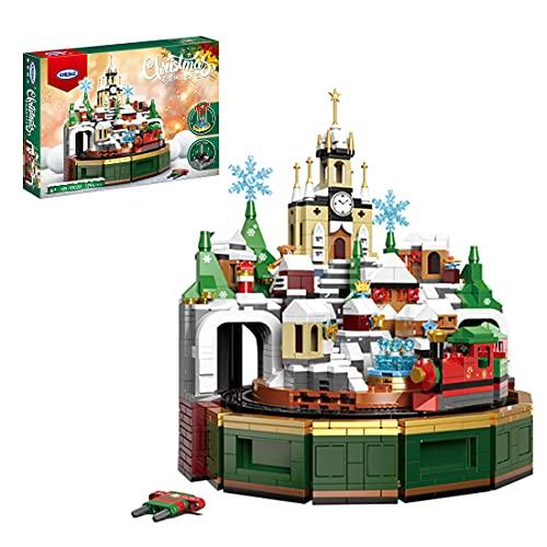 WWEI Castillo de tren modular casa de tren de Navidad, castillo, 1294 piezas, calendario de Adviento, juego de construcción, compatible con árbol de Navidad Lego 40223