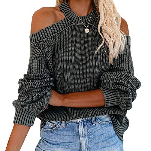 Vertvie Damen Sexy Sweatshirt Schulterfrei Langarmshirt einfarbig Sweater Strickpullover Strickpulli Mode Winterpullover Tunika Tops