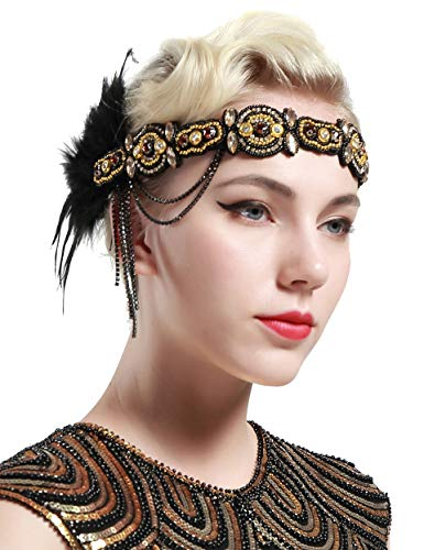 BABEYOND 1920s Flapper Headband Roaring 20s Gatsby Headpiece Black Feather Headband 1920s Flapper Hair Accessories (Gold)