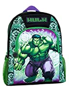 Kids Marvel The Incredible Hulk Backpack. Approximate Dimensions: H: 36 X W: 29 X D: 11cm This rucksack features the classic colours of black, purple, and green and featuring a cartoon Hulk on the front pocket surrounded by a green hulk motif. Comple...