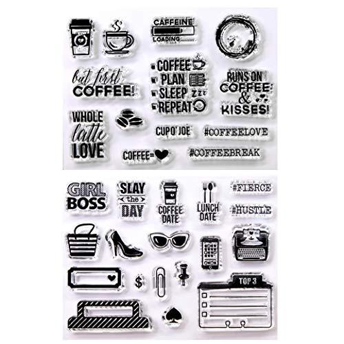 Kwan Crafts 2 Bögen verschiedene Stil Kaffee-Plan Kaffee Datum klare Stempel für Karten Herstellung Dekoration und DIY Scrapbooking