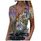 YANFANG Blusa de Camisa de Manga Corta con Solapa y Estampado Suelto de Moda Casual para Mujer,Camiseta Básica 100% Algodón Orgánico para Mujer,, M,Yellow