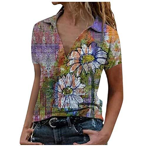 YANFANG Blusa de Camisa de Manga Corta con Solapa y Estampado Suelto de Moda Casual para Mujer,Camiseta Básica 100% Algodón Orgánico para Mujer,, S,Yellow