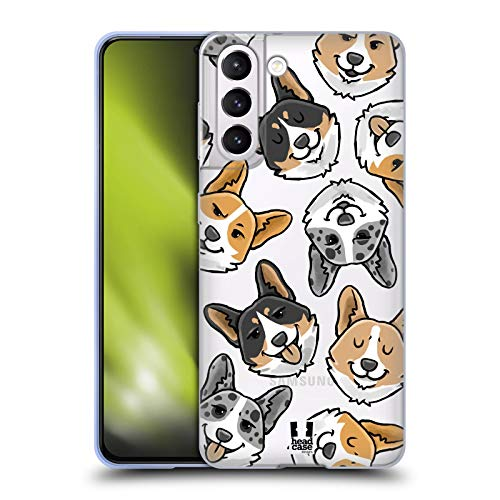 Head Case Designs Corgi Dog Head Patterns Soft Gel Case and Matching Wallpaper Compatible with Samsung Galaxy S21 5G