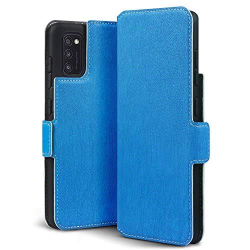 TERRAPIN, Kompatibel mit Samsung Galaxy A41 Hülle, Premium Leder Flip Handyhülle Samsung Galaxy A41 Tasche Schutzhülle, Hellblau