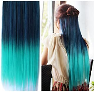 Best Selling ! 15 Colorsjapan High Temperature Heat Resistant Synthetic Straight Multi Color Extension Hair Wig Woman's 65cm 25inch 105g Good Quality Human Made Hair (dark blue-Light Green)