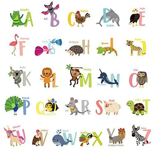 Alfabet Cartoon Dieren Muursticker Handige Engels Letters Leren Muur Koelkast Leuke Decoratieve Muurstickers