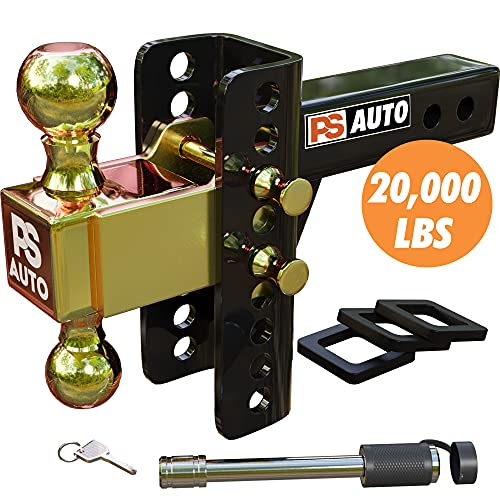 PSAUTO Adjustable Trailer Hitch – Trailer Hitch, Adjustable, Ball Mount Hitch - 2-inch Receiver, 6-inch Drop, 20,000 LBS, 2 and 2-5/16 inch Balls, Solid Tube Hitch