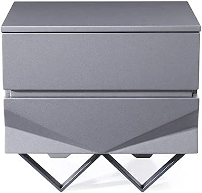 Limari Home Vincenzo Collection Modern Style Matte Finished Bedroom Nightstand With 2 Soft Closing Drawers & Chrome Stainless Steel Legs, Grey & Black
