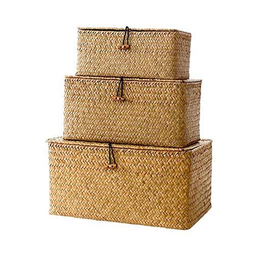 Juego de 3 cestas de hierbas marinas de almacenamiento con tapa cestas de mimbre natural tejida de almacenamiento caja rectangular Seagrass lavandería maquillaje Organizador
