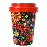 DON'T PLASTIC ME tazza da caffè 350 ml con coperchio a vite in fibra di bambù con motivo floreale colorato e simbolo della pace, biodegradabile
