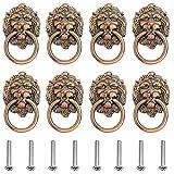Tiradores para Cajones Vintage, 8 Piezas Cabeza Leon Tirador Puerta Armario, Tiradores de Metal Vintage Bronce, para Puertas, Armarios de Cocina, Cajones de Comodas Antiguos (Bronce rojo antiguo
