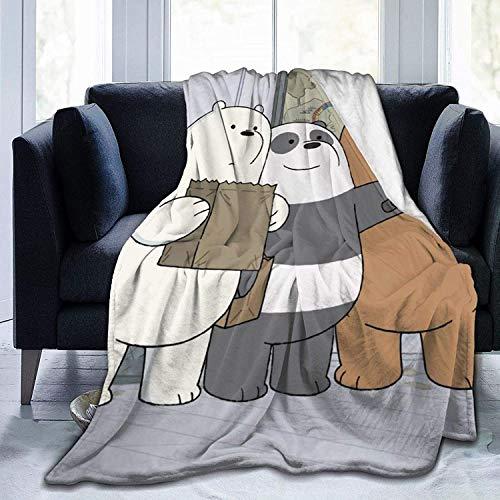 Manta BettiCharm We Bare Bears de franela de felpa muy suave y cómoda, adecuada para sofá, salón, cama, uso en todas las estaciones, 150 x 100 cm, para niños
