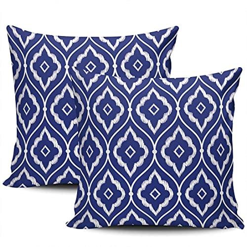 Conjunto de 2,18×18 Pulgadas de Almohada de Sofá de su Casa Decorativo Azul y Blanco Ikat Marroquí de Baldosas de la Plaza de Almohadas Caso Fundas de Cojines
