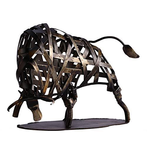 ZFF Bull de metal estatua, hierro armadura Bull OX animales Figuras hechas a mano de la estatua Crafts - Acabado Bronce