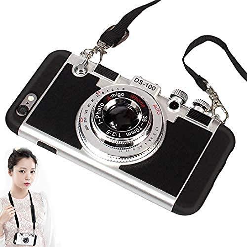 CZYSKY Paris New Emily Funda para teléfono móvil con cámara Retro, Moderna Funda de Silicona con diseño de cámara de Estilo Retro 3D, para iPhone X/XS/XS MAX/XR / 12, Negro